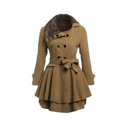 Faux Collar Double Coat